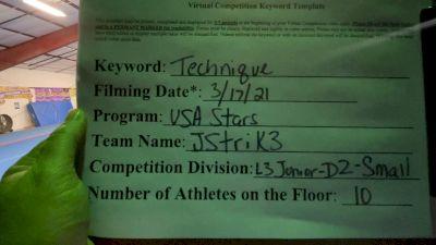 USA Stars - JStrik3 [L3 Junior - D2 - Small - A] 2021 Varsity All Star Winter Virtual Competition Series: Event IV