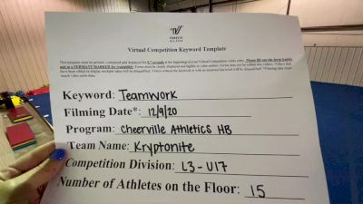 CheerVille Athletics HB - Kryptonite [Level 3 L3 - U17] Varsity All Star Virtual Competition Series: Event VII
