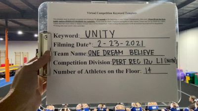 One Dream Cheer - Believe [L1 Performance Recreation - 12 and Younger (NON) - Small] 2021 Varsity Rec, Prep & Novice Virtual Challenge IV
