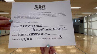 Peak Athletics - Yellow [Mini - Contemporary/Lyrical] 2021 USA All Star Virtual Championships