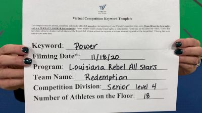 Louisiana Rebel All Stars - Louisiana Rebel All Stars - Redemption [L4 Senior - Small] Varsity All Star Virtual Competition Series: Event V
