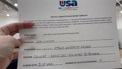 Ottawa University Arizona [College - Game Day - All In One Performance] 2021 USA Virtual West Coast Spirit Championships