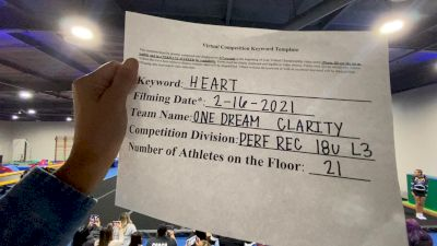 One Dream Cheer - Clarity [L3 Performance Recreation - 18 and Younger (NON)] 2021Varsity Recreational Virtual Challenge III