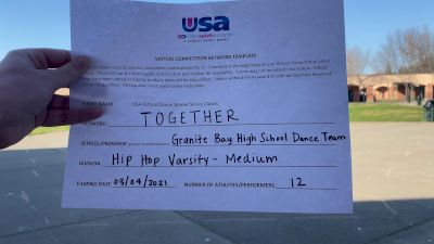 Granite Bay High School [Hip Hop Varsity - Medium] 2021 USA Virtual Dance Winter Classic