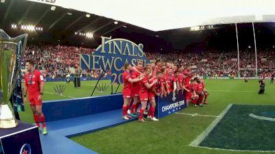 Saracens Players Lift The Heineken Champions Cup Trophy