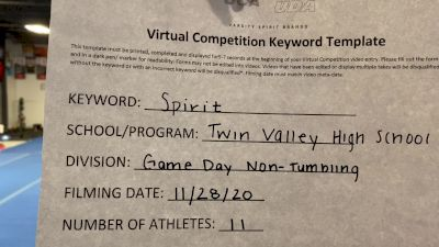 Twin Valley High School [Game Day - Small Non Tumbling] 2020 UCA Allegheny Virtual Regional