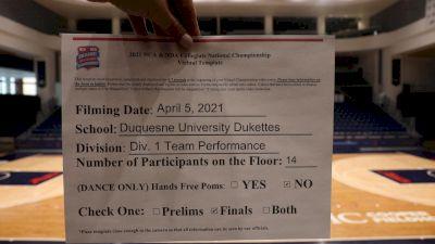 Duquesne University [Virtual Team Performance Division I Finals] 2021 NCA & NDA Collegiate Cheer & Dance Championship