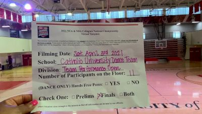 Catholic University of America [Virtual Team Performance Open Finals] 2021 NCA & NDA Collegiate Cheer & Dance Championship