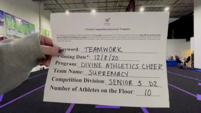 Divine Athletics Cheer - Supremacy [Level 3 L3 Senior - D2 - Small] Varsity All Star Virtual Competition Series: Event VII