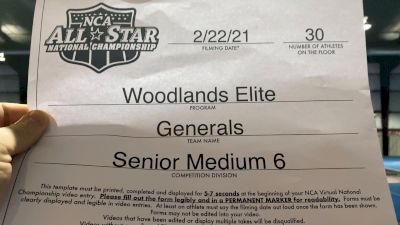 Woodlands Elite - Generals [L6 Senior - Medium] 2021 NCA All-Star Virtual National Championship