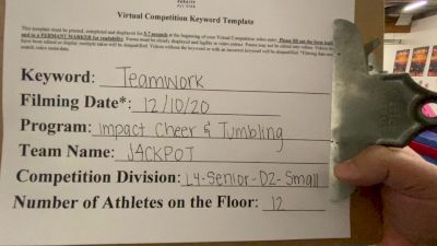 Impact Cheer Tumbling - Jackpot [Level 4 L4 Senior - D2 - Small] Varsity All Star Virtual Competition Series: Event VII
