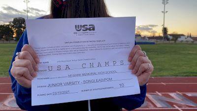 Newark Memorial High School [Junior Varsity - Song/Pom - Novice] 2021 USA Virtual West Coast Spirit Championships