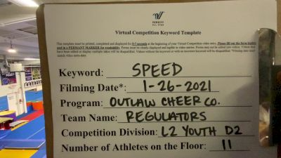 Outlaw Cheer Company - Regulators [L2 Youth - D2 - Small] 2021 Varsity All Star Winter Virtual Competition Series: Event I