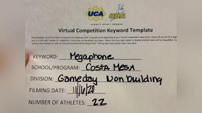 Costa Mesa High School [Game Day Varsity Non-Building] 2020 UCA Virtual Regional