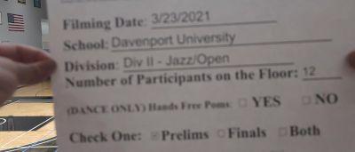 Davenport University [Virtual Jazz Open Prelims] 2021 NCA & NDA Collegiate Cheer & Dance Championship