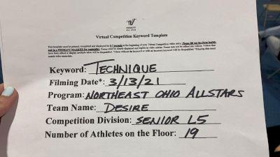 Northeast Ohio All Stars - DESIRE [L5 Senior] 2021 Varsity All Star Winter Virtual Competition Series: Event IV