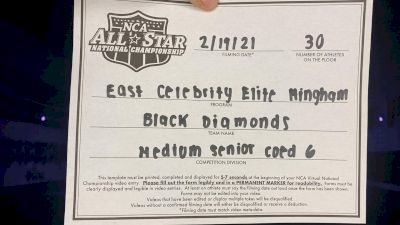 East Celebrity Elite - Hingham - Black Diamonds [L6 Senior Coed - Medium] 2021 NCA All-Star Virtual National Championship