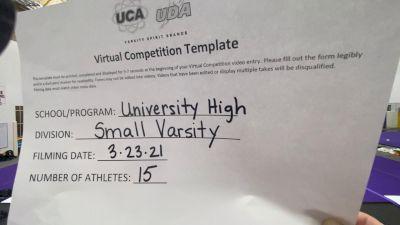 University High School [Small Varsity] 2021 UCA & UDA March Virtual Challenge