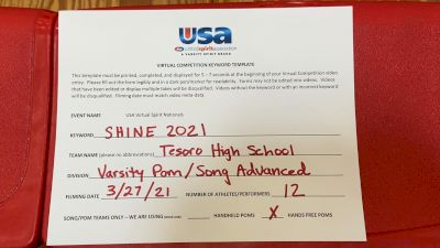 Tesoro High School [Varsity - Song/Pom - Advanced Prelims] USA Spirit & Dance Virtual National Championships