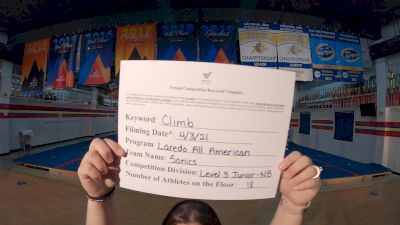 Laredo All American - Sonics [L3 Junior - Non-Building] 2021 The Regional Summit Virtual Championships