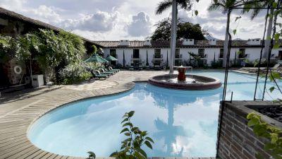 Strolling Through A Beautiful Hotel In Antigua