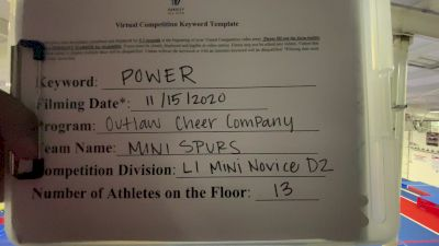 Outlaw Cheer Company - Mini Spurs [L1 Mini - Novice] Varsity All Star Virtual Competition Series: Event V