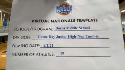 Burns Middle School [Virtual Junior High Non Tumbling Game Day Finals] 2021 UCA National High School Cheerleading Championship