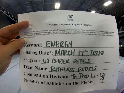 US Cheer Rebels - Ruthless Rebels [L1.1 Junior - PREP - Small] 2021 Beast of The East Virtual Championship