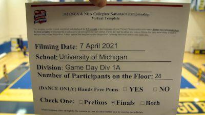 University of Michigan [Virtual Game Day Finals] 2021 NCA & NDA Collegiate Cheer & Dance Championship