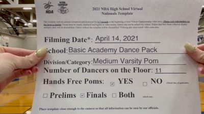 Basic Academy Dance Pack [Virtual Medium Varsity - Pom Finals] 2021 NDA National Championship