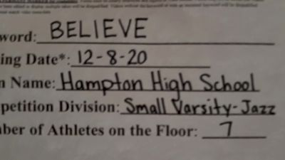 Hampton High School [Small Varsity Jazz] 2020 NDA December Virtual Championship