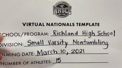 Richland High School [Virtual Small Varsity Non Tumbling Finals] 2021 UCA National High School Cheerleading Championship