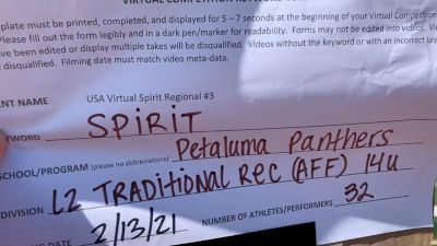 Petaluma Panthers Youth Football and Cheer [L2 Traditional Recreation - 14 and Younger (AFF)] 2021 USA Virtual Spirit Regional #3