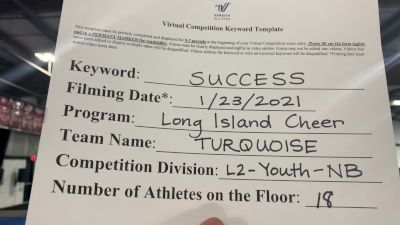 Long Island Cheer - Turquoise [L2 Youth - Non-Building] 2021 Athletic Championships: Virtual DI & DII