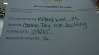 Millard West High School [Game Day - Varsity Non Building] 2021 UCA January Virtual Challenge