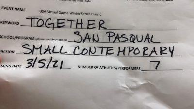 San Pasqual High School [Dance Varsity - Small] 2021 USA Virtual Dance Winter Classic