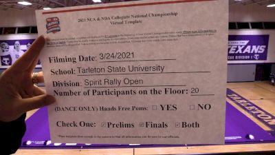 Tarleton State University [Virtual Spirit Rally Open Prelims] 2021 NCA & NDA Collegiate Cheer & Dance Championship