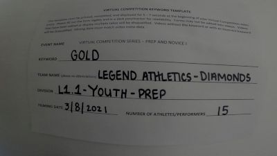 Legend Athletics [L1.1 Youth - PREP] 2021 Varsity Virtual Competition Series - Prep & Novice I