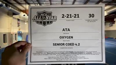ATA - Oxygen [L4.2 Senior Coed - Medium] 2021 NCA All-Star Virtual National Championship