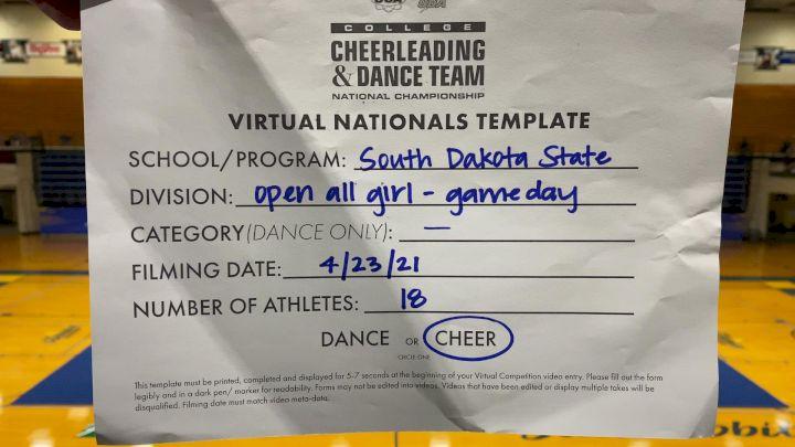 South Dakota State University [Open All Girl Game Day Virtual Finals] 2021 UCA & UDA College Cheerleading & Dance Team National Championship