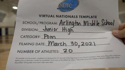 Arlington Middle School [Virtual Junior High - Pom Finals] 2021 UDA National Dance Team Championship