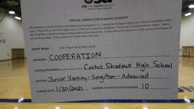Cactus Shadows High School [Junior Varsity - Song/Pom - Advanced] 2021USA Virtual Spirit Regional #2 and All Star Dance Regional #1