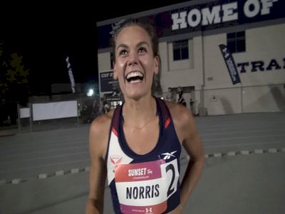 Josette Norris After Breaking 4:00 at Sunset Tour