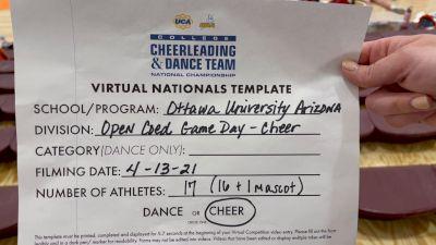 Ottawa University Arizona [Virtual Small Coed Game Day - Cheer Semi Finals] 2021 UCA & UDA College Cheerleading & Dance Team National Championship