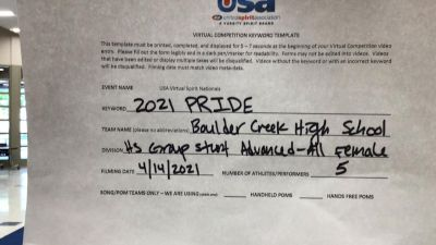Boulder Creek High School [HS Group Stunt Advanced - All Female Finals] 2021 USA Spirit & Dance Virtual National Championships