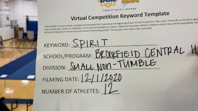 Brookfield Central High School [Small Varsity - Non Tumble] 2020 UCA Milwaukee Virtual Regional