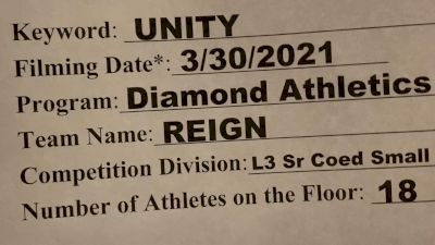 Diamond Athletics - Reign [L3 Senior Coed - D2 - Small] 2021 Mid Atlantic Virtual Championship