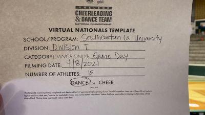 Southeastern Louisiana University [Virtual Division I Game Day - Dance Semi Finals] 2021 UCA & UDA College Cheerleading & Dance Team National Championship