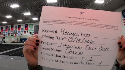 Titanium Force Cheer - Charm [L1 Junior - D2 - Small] 2020 America's Best Virtual National Championship