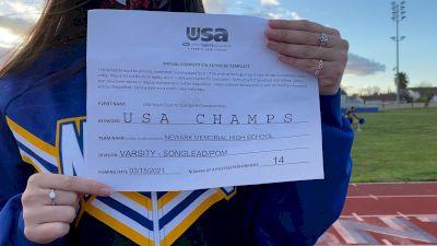 Newark Memorial High School [Varsity - Song/Pom - Novice] 2021 USA Virtual West Coast Spirit Championships